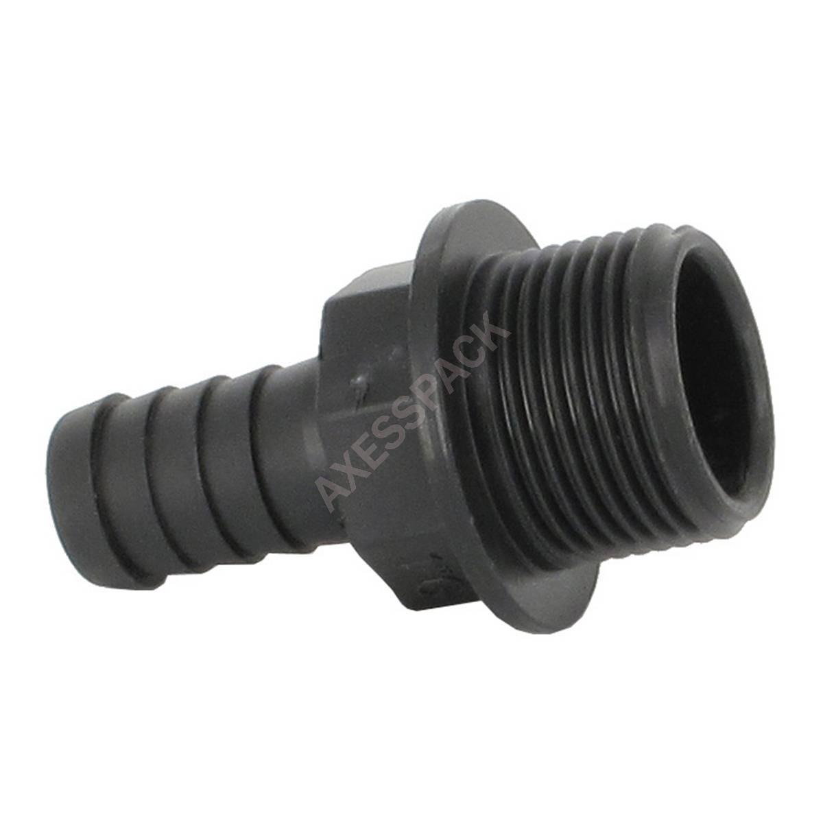 """Raccord annelé - Droit - M 1"""" pas gaz - Embout cannelé Ø 20 mm"""