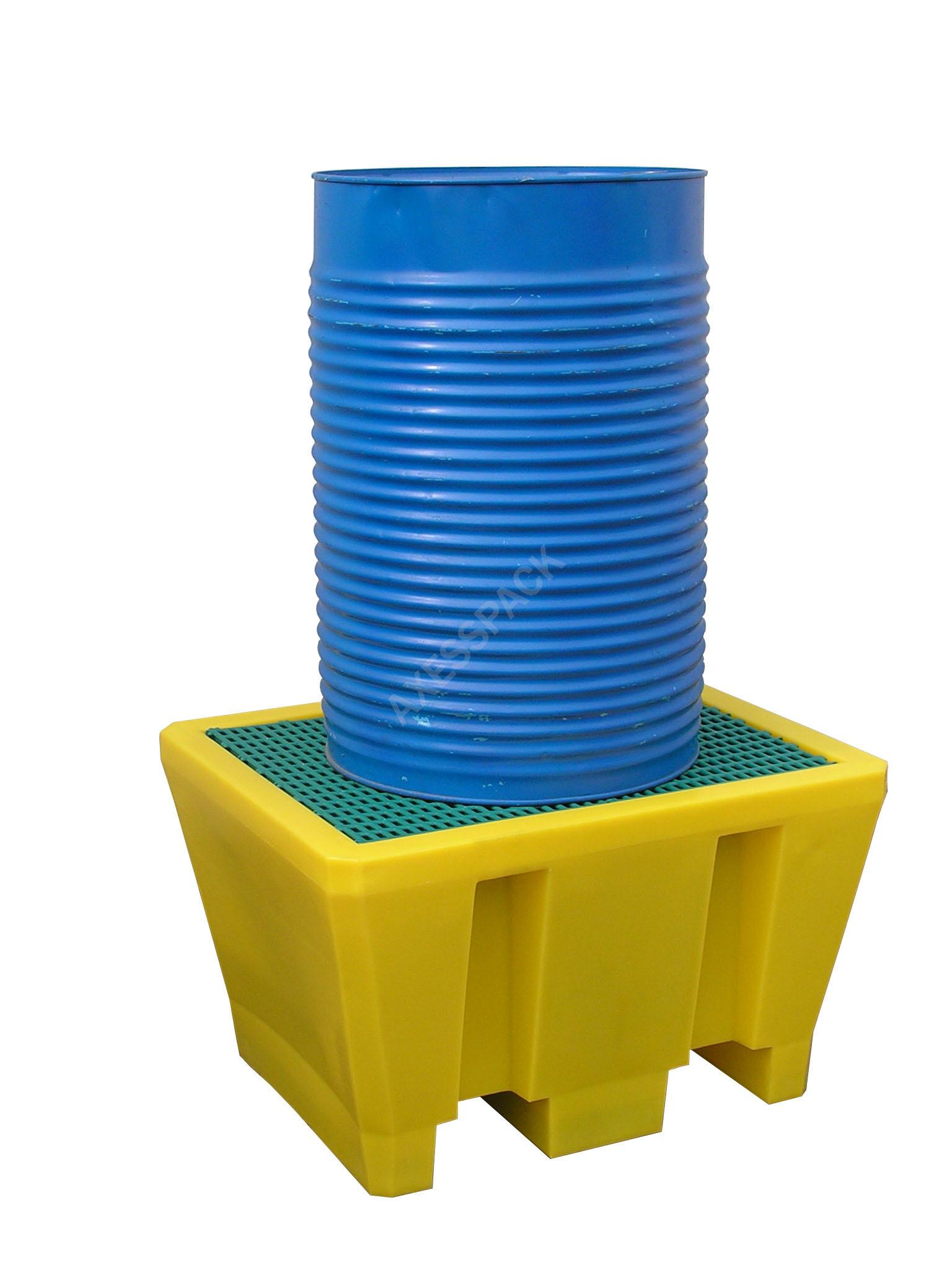 Bac de rétention 225 litres plastique avec caillebotis polypropylène