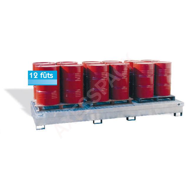 Bac de rétention longitudinal 1500 litres en acier galvanisé