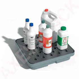 Bac de rétention PE 10 litres - Caillebotis plastique - Gris