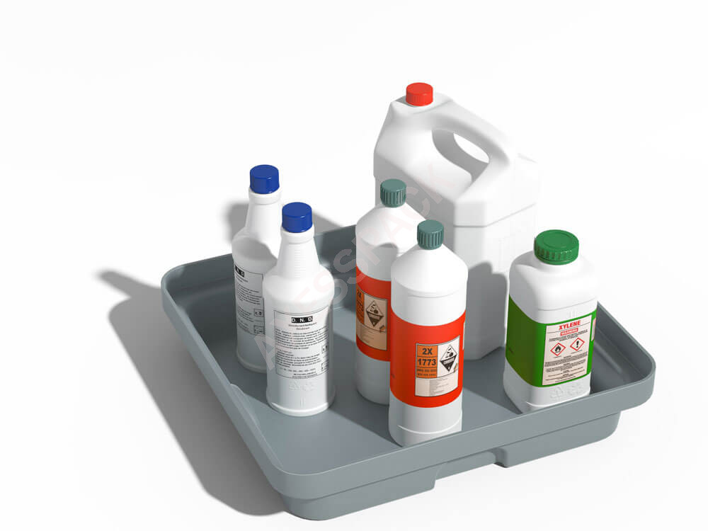 Bac de rétention PE 10 litres - sans caillebotis - Gris