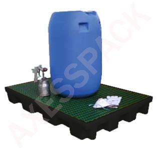 Plateforme de rétention ECO 120 litres plastique avec caillebotis PE