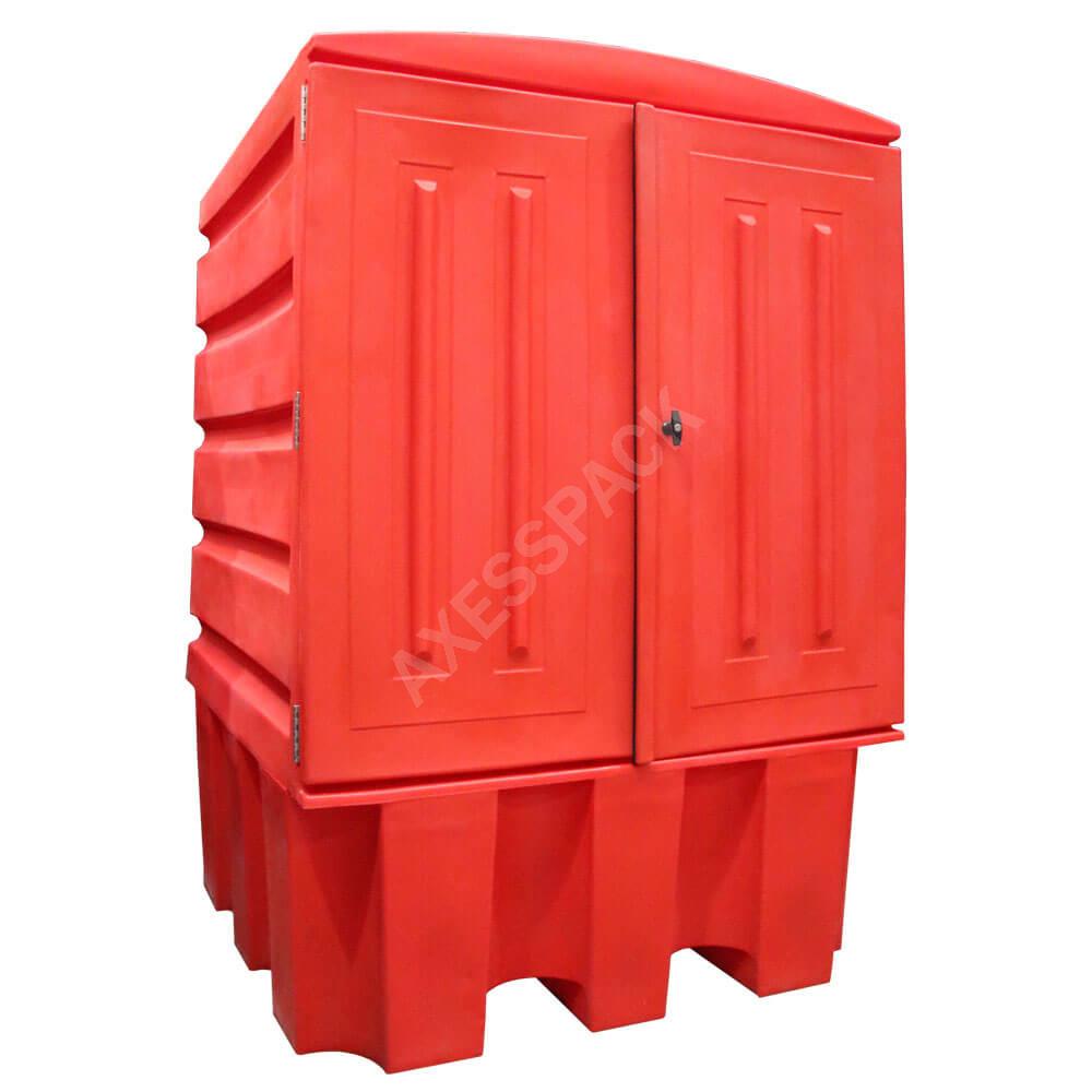 Armoire de rétention PE pour cuve 1000 L - caillebotis PE - Rouge