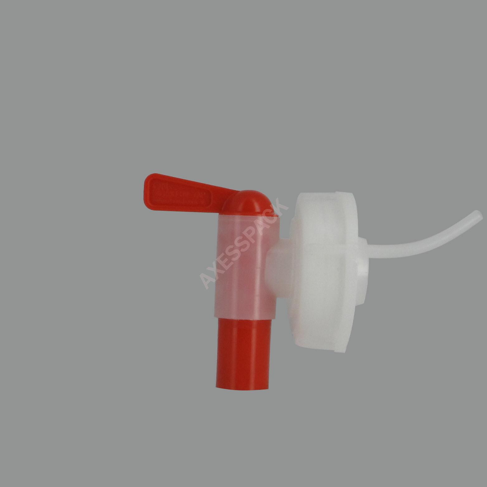 """Robinet Aeroflow sur bague F 1""""3/4 (DIN 51) - Rouge"""