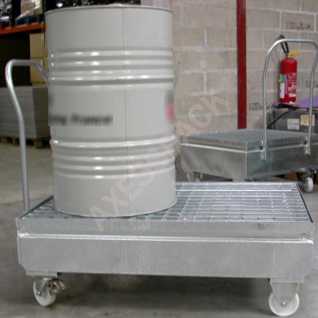 Chariot roulant acier galvanisé pour 2 fûts 220L