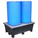 Bac de rétention à pieds 240 litres plastique avec caillebotis acier galvanisé