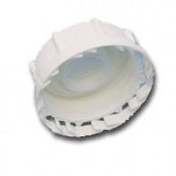 """Bouchon F PEHD 2"""" DIN61 (S60X6) blanc joint PE + bonde 3/4"""" BSP (pas gaz) + Inviolabilité"""