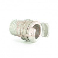 Demi-raccord symétrique avec verrou - DN 40 mm - Embout annelé Ø 45 mm - Inox