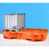 Bac de rétention 1050 L PEHD (double cuve IBC) + Réceptacle intégré