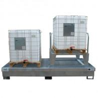 Bac de rétention 1000 L - acier galvanisé - Bi conteneur + 1 réhausse