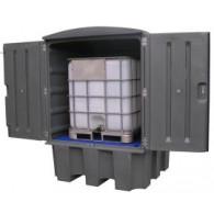Armoire de rétention plastique pour cuve 1000 L - caillebotis PE - avec ventilation