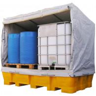 Système bâché de protection pour bac de rétention bi-conteneur