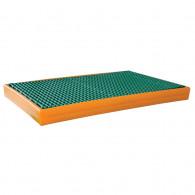 Bac de rétention pour rayonnage PE 1230x600x90 Jaune + Caillebotis Plastique - 55L