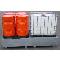 Bac de rétention 1000 L - acier galvanisé - Bi conteneur + Caillebotis galva