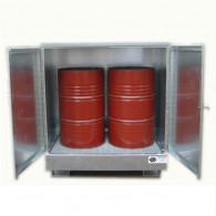 Armoire de rétention en acier galvanisé avec caillebotis galva - 220 L