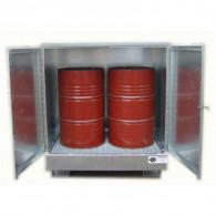 Armoire de rétention en acier galvanisé avec caillebotis galva - 440 L