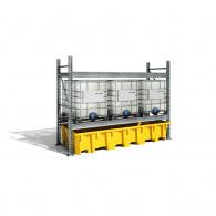 Bac de rayonnage PE 3280x1300x575 Jaune + Caillebotis Plastique - 1650L
