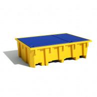 Bac de rayonnage PE 2180x1300x575 Jaune + Caillebotis Plastique - 1050L