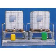 Bac de rétention 1000 L - acier galvanisé - Bi conteneurs + 2 réhausses