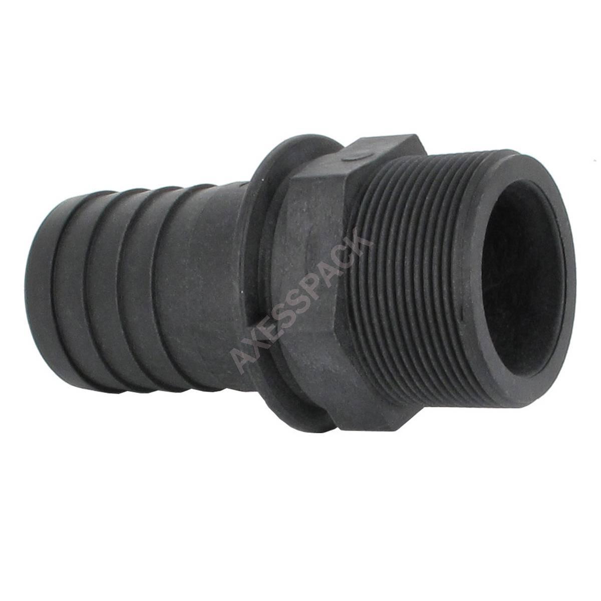 "Hose tail coupler - straight - Male 2"" BSP - hose tail Ø50 mm - PP"